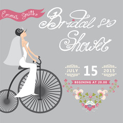 Bridal Shower.Wedding invitation with floral border,retro bicycl