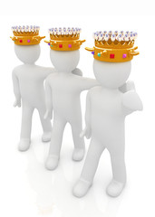 3d people - mans, persons with a golden crown. Kings