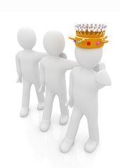 3d people - man, person with a golden crown and 3d man