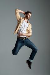 hipster jumping man