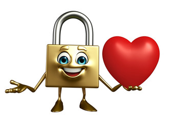 Lock Character with red heart