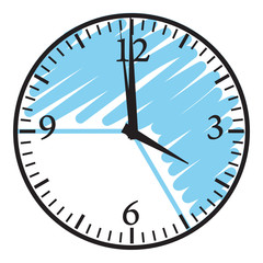 Clock with blue timezone for school timetable or work agenda.