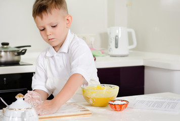 Cute little boy learning to bake cakes