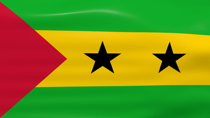 Waving Sao Tome and Principe Flag, ready for seamless loop.