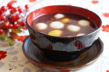 Japanese dessert, sweet red-bean soup with chestnuts