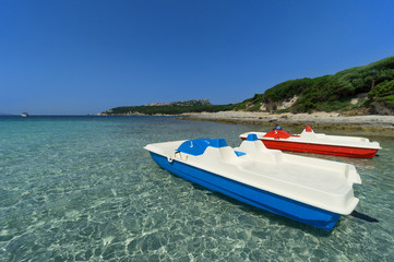 Pedal Boats on Sardinia beach, Italy