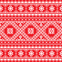 Ukrainian, Slavic folk art knitted red and white pattern