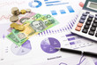 australia currency on graphs, financial planning and expense rep