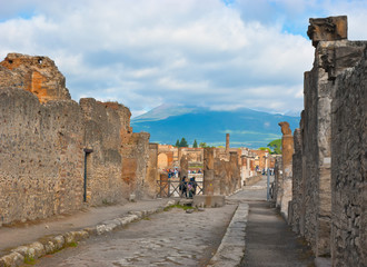 the vesuvius from the pompei ruins