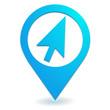 cliquez ici sur symbole localisation bleu