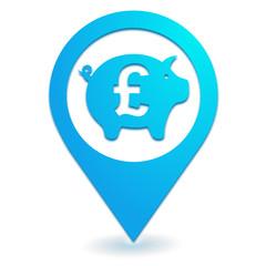 banque épargne livre sterling sur symbole localisation bleu