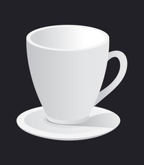 photorealistic white cup and saucer