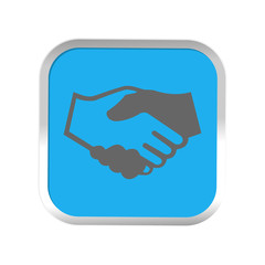 handshake icon in sticker. Vector