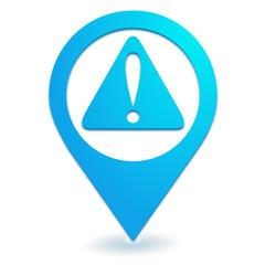danger sur symbole localisation bleu