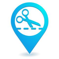 découper sur symbole localisation bleu