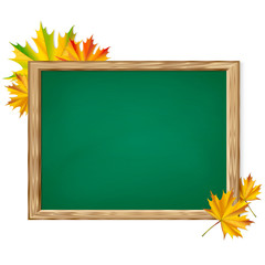 Chalkboard and autumn leaves.
