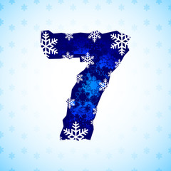 Winter decorations. Number made of snowflakes