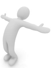 3d man isolated on white. Series: morning exercises - flexibilit