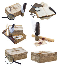 Set with ancient written implements