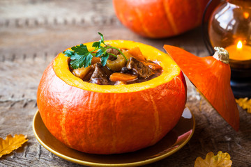 Beef stew in pumpkin