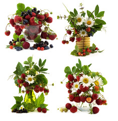 Set with summer flowers and berries