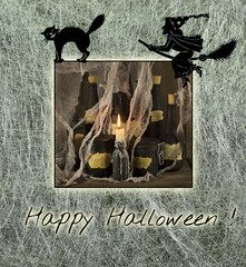 Halloween card with witch and cat