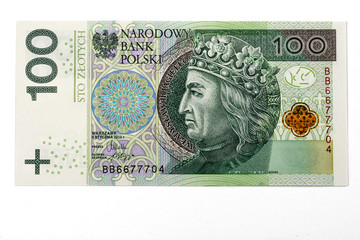 one hundred pln polish zloty banknote on white background