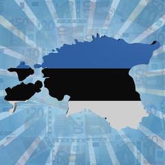 Estonia map flag on euros sunburst illustration