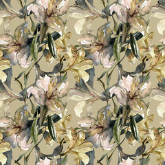 White lily seamless pattern