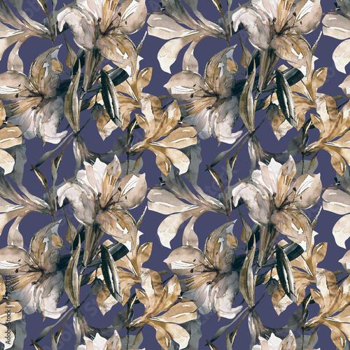 White lily seamless pattern © svemar