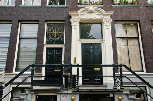Foto op Canvas Amsterdam Beautiful Townhouse Entrance
