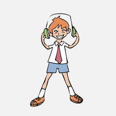Boy listen music headphone