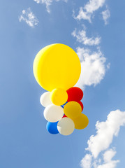 Colorful balloons against the blue sky