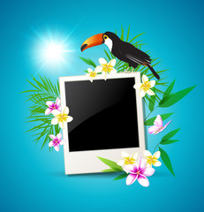 Background with toucan and flowers