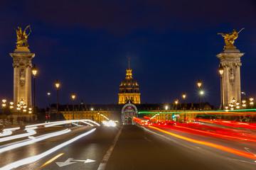 Pont Alexandre III at night illumination  in Paris, France