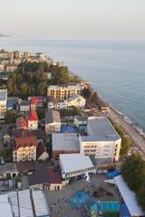 Курортный посёлок Лазаревское в лучах заходящего солнца. Сочи