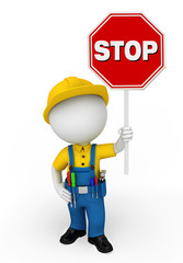 Young mechanic with stop sign