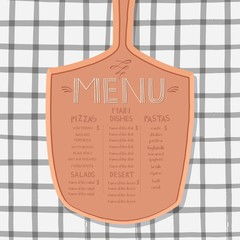pizza shovel, menu design