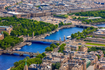 View of Paris, Pont Alexandre III and Place de la Concorde from
