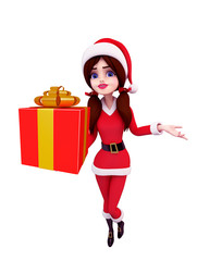 Santa Girl Character with gift box