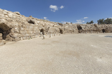Ruins of ancient Roman stadium in Israel.