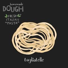 Tagliatelle, vector pasta illustration