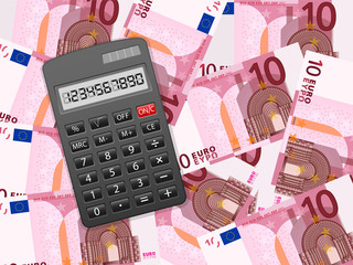 calculator on ten euro background