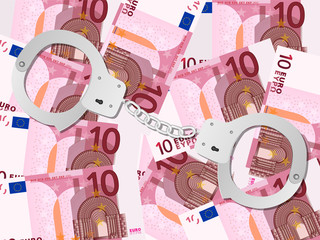 handcuffs on ten euro background