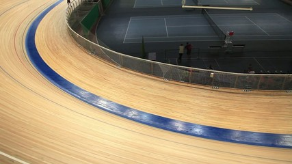 velodrome race blurred motion