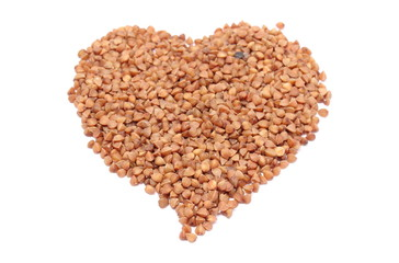 Heart shaped buckwheat isolated on white background