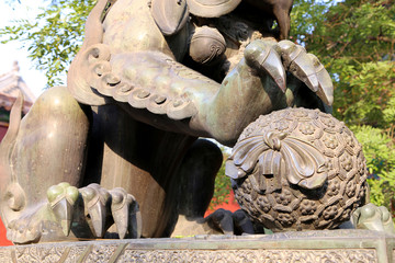 Bronze Guardian Lion Statue in Yonghe Temple -- Beijing, China