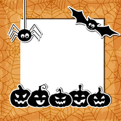 Halloween grunge background with black pumpkins, bat, spider and