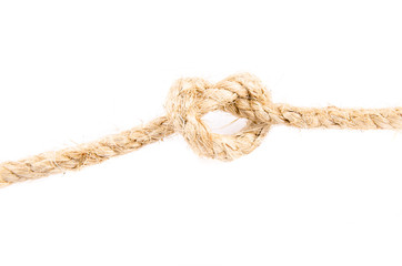 ship rope with a knot isolated on white background