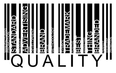 Quality word concept in barcode with supporting words, modern, c